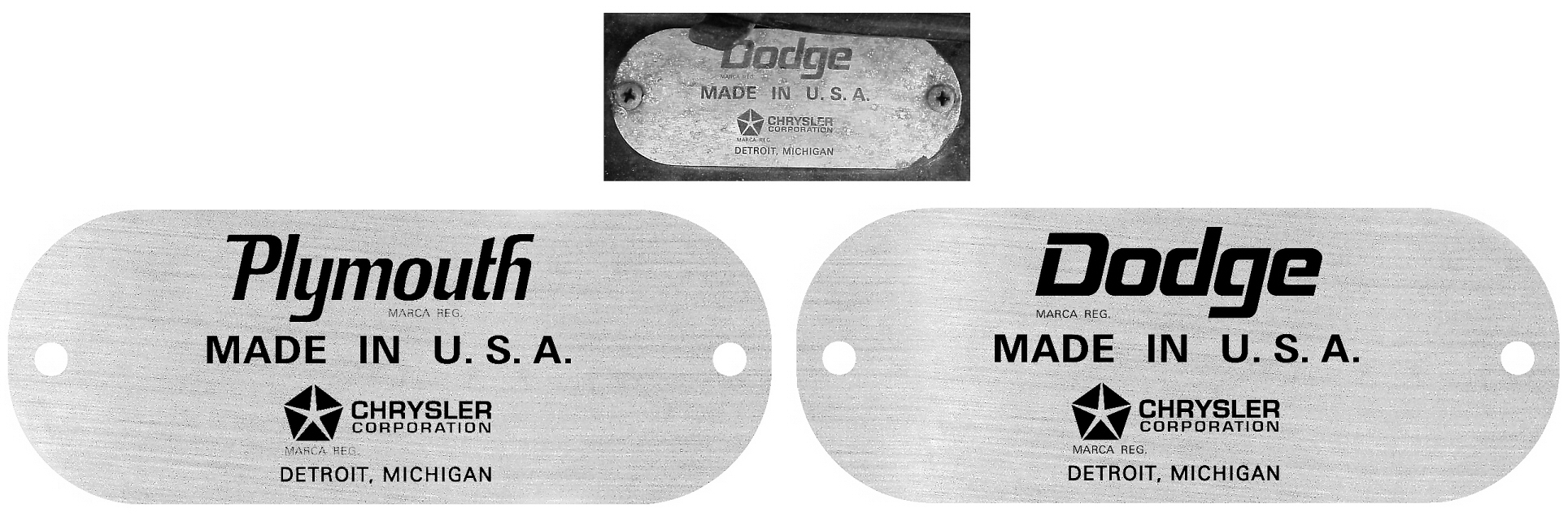 Plymouth, Dodge Fender Export Plate Tags
