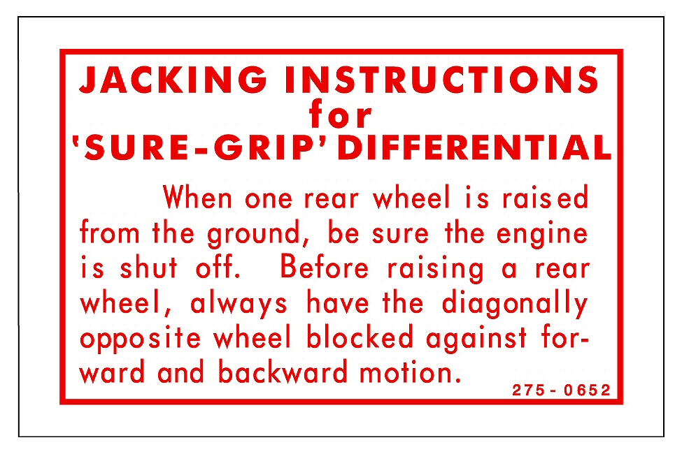 Sure Grip Jack Instructions Caution Decal Dodge Plymouth