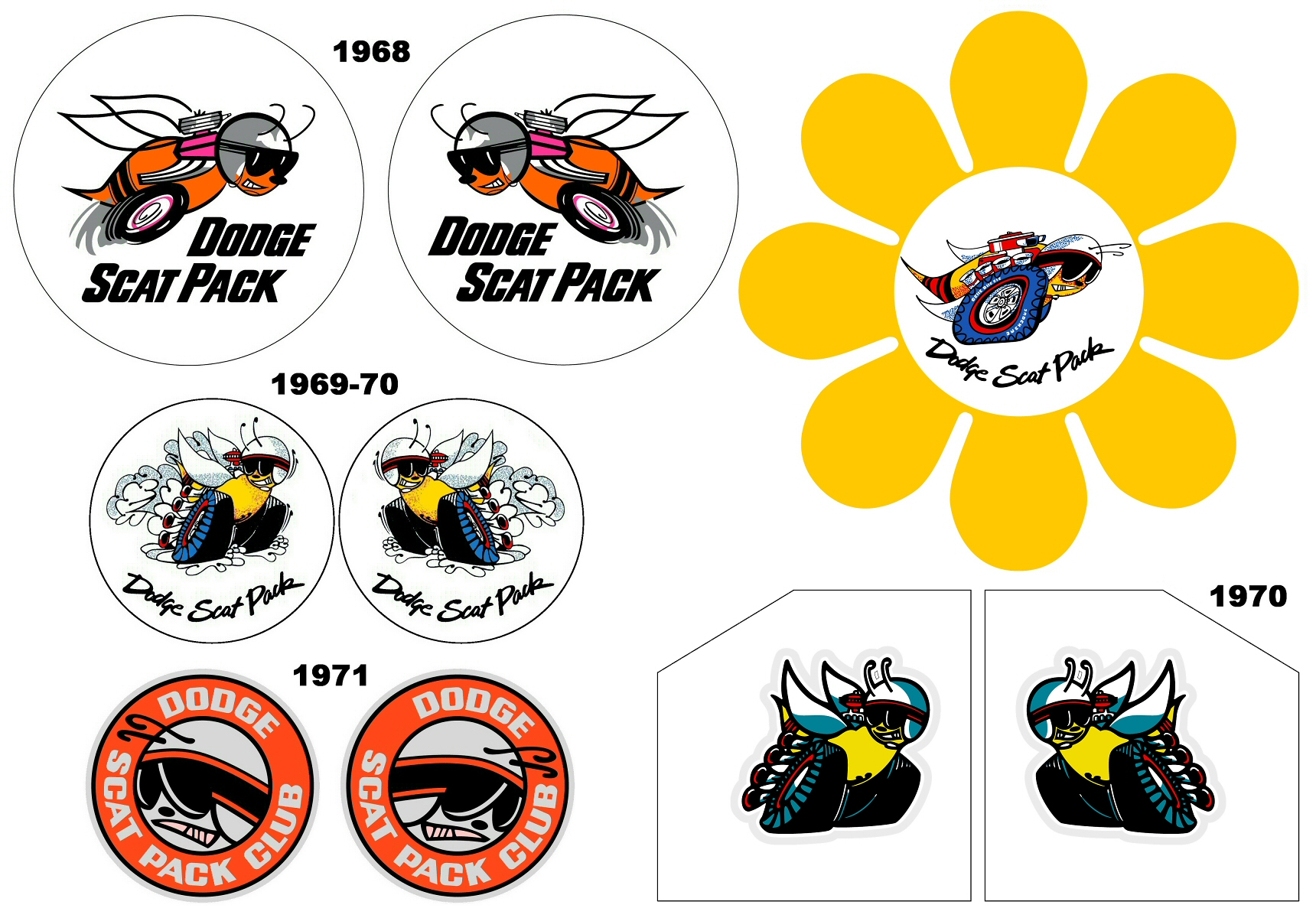 1968-71 Dodge Scat Pack Club and Factory Window Bee Decals