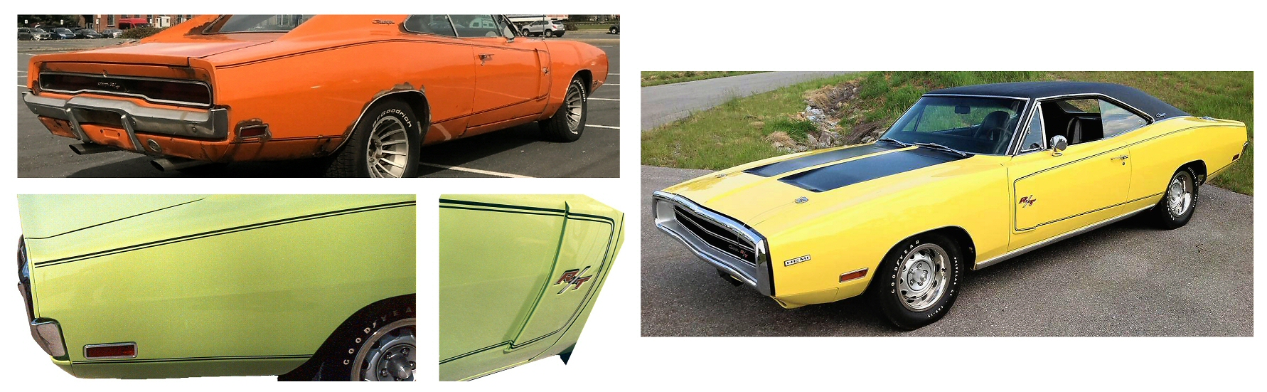 1970 Dodge Charger R T Rt Side Pinstripes Decals Green
