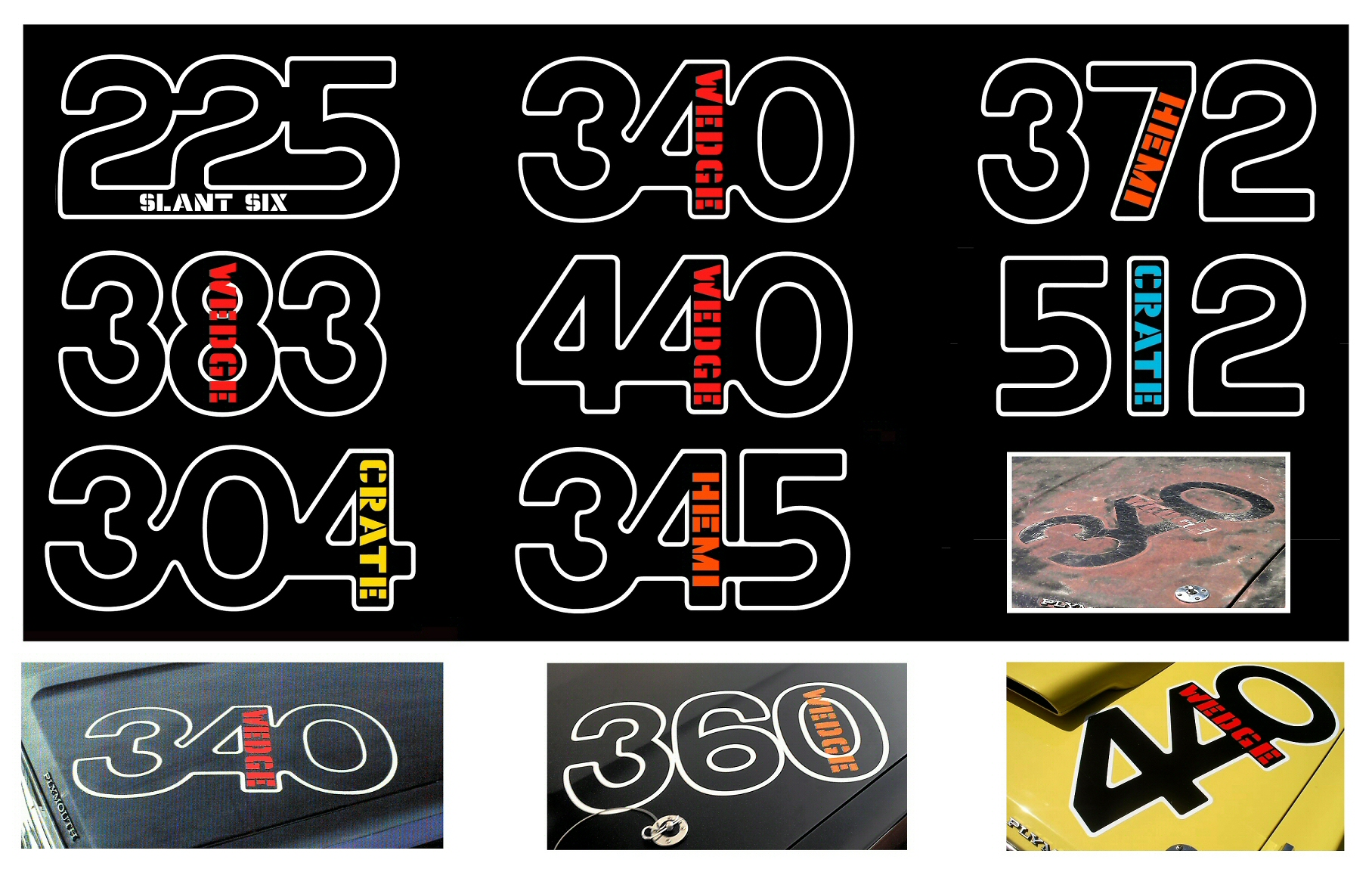 "1971 Plymouth Duster ""340 Wedge"" Hood Pinstripe Lettering Decal"